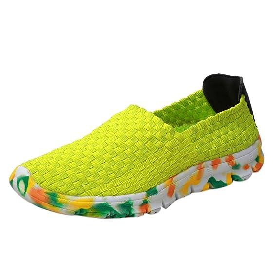 Zapatos para Mujer, RETUROM 2018 Zapato Deportivo Resistente al Deslizamiento de Las Mujeres de la Boca Baja Tejida Plana Respirable de Las Mujeres: ...