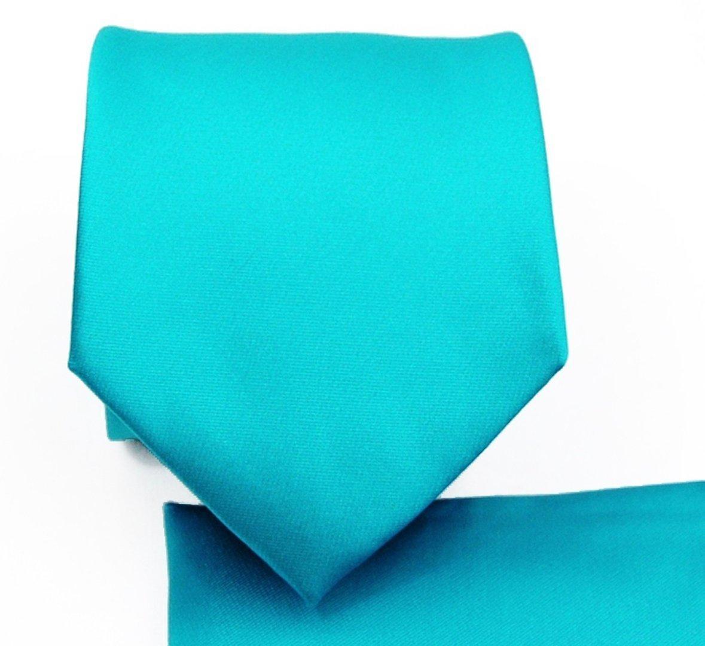 Solid Pattern NeckTie Set (Turquoise)