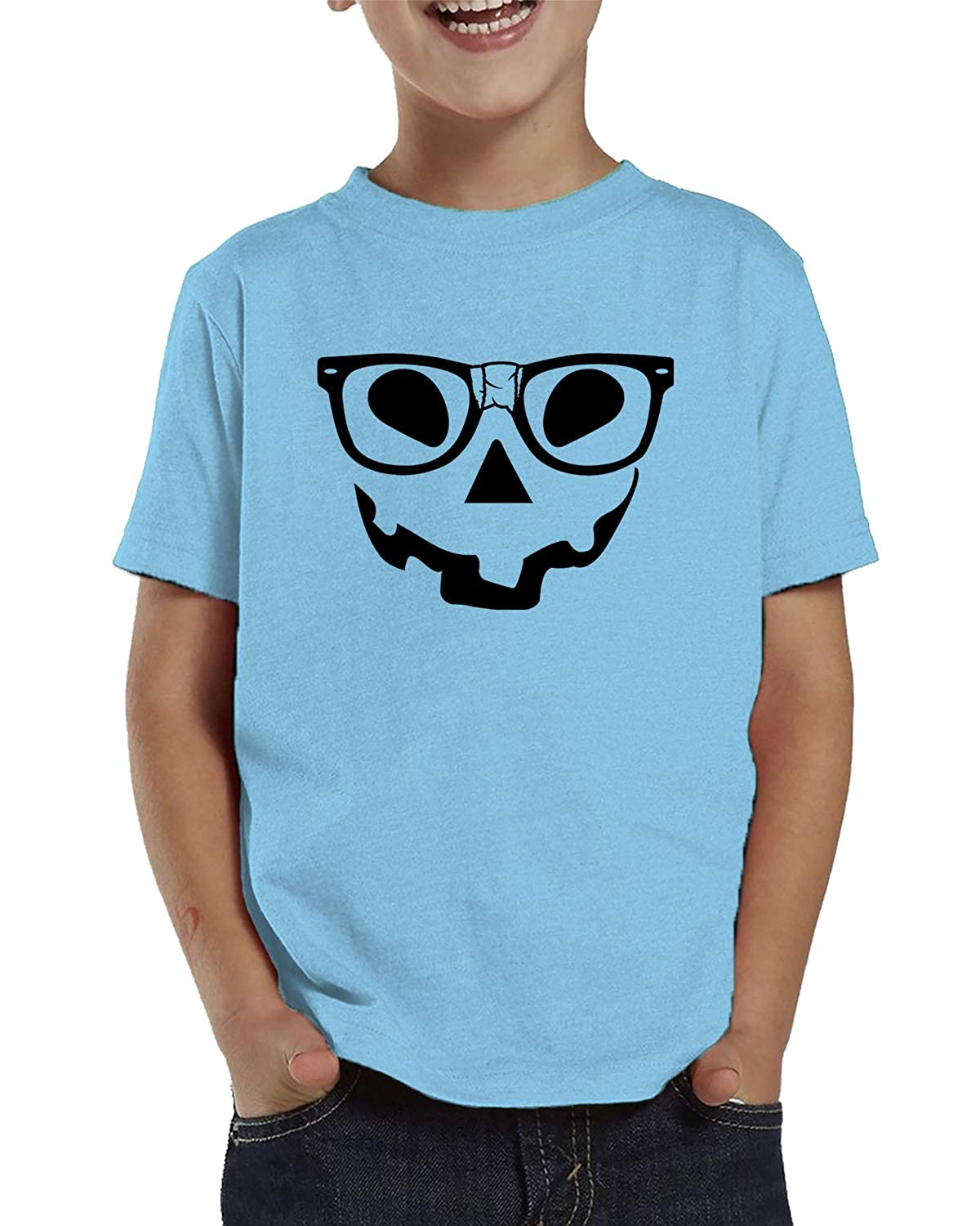 SpiritForged Apparel Pumpkin Face with Nerdy Glasses Toddler T-Shirt