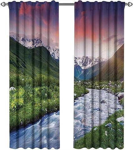 Returiy - Cortinas asiáticas, diseño de Bosque asiático de bambú con Rayos de Sol por la mañana a través de árboles de la Selva, Cortinas para Dormitorio de niñas, Color Verde Lima