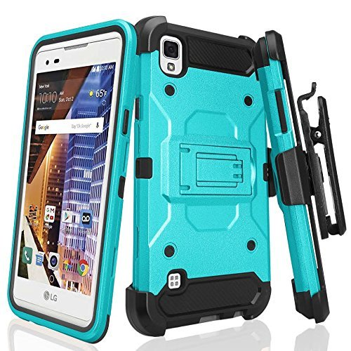 LG Tribute HD Case, LG X Style Case, Tribute HD Cover [Shock/Impact Resistant] Rugged Premium Hybrid Holster Triple Layer Protector Case [Kickstand][Swivel Locking Belt Clip] For LG Tribute HD, (Tribute Hybrid)