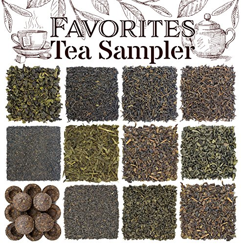 Favorites 12-Variety Loose Leaf Tea Sampler with Green, Black, Oolong, and Pu-erh Loose Tea Assortment (12-tin Variety Pack); Makes 250+ Cups of Tea