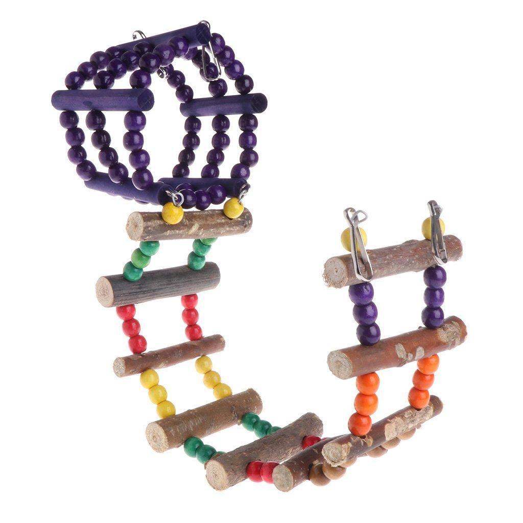 Parrot Toy Ladder Climbing Bridge Birds Parakeet Wooden Hanging Cage Accessories Premium Quality by Yevison