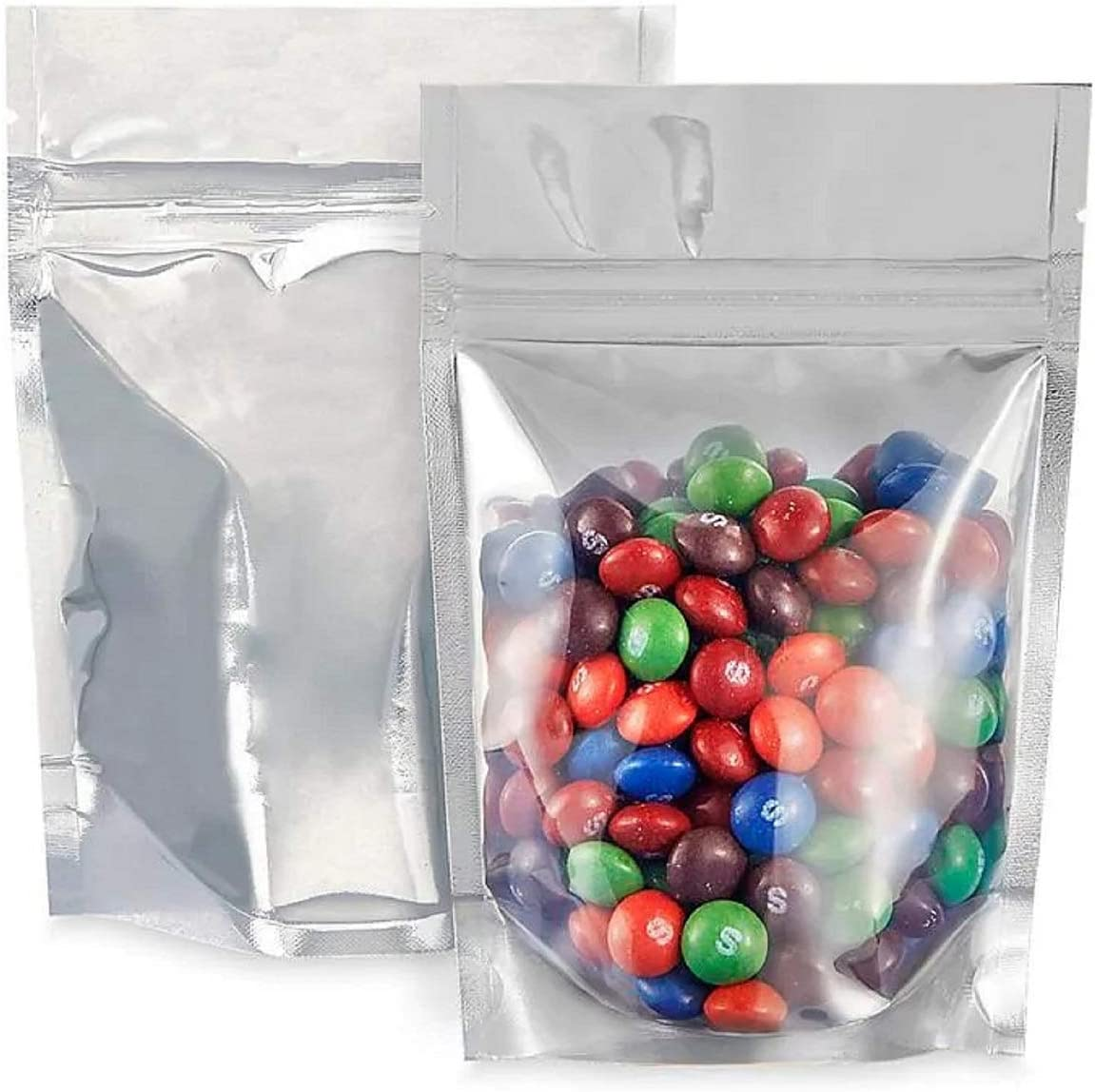 Reusable Smell Proof Bags   5x7 Stand Up Mylar Bags   Resealable Ziplock Aluminum Food Storage Bags for Candy, Coffee Beans, Rice, Jewelry, ect with Tear Notches (50 Count)