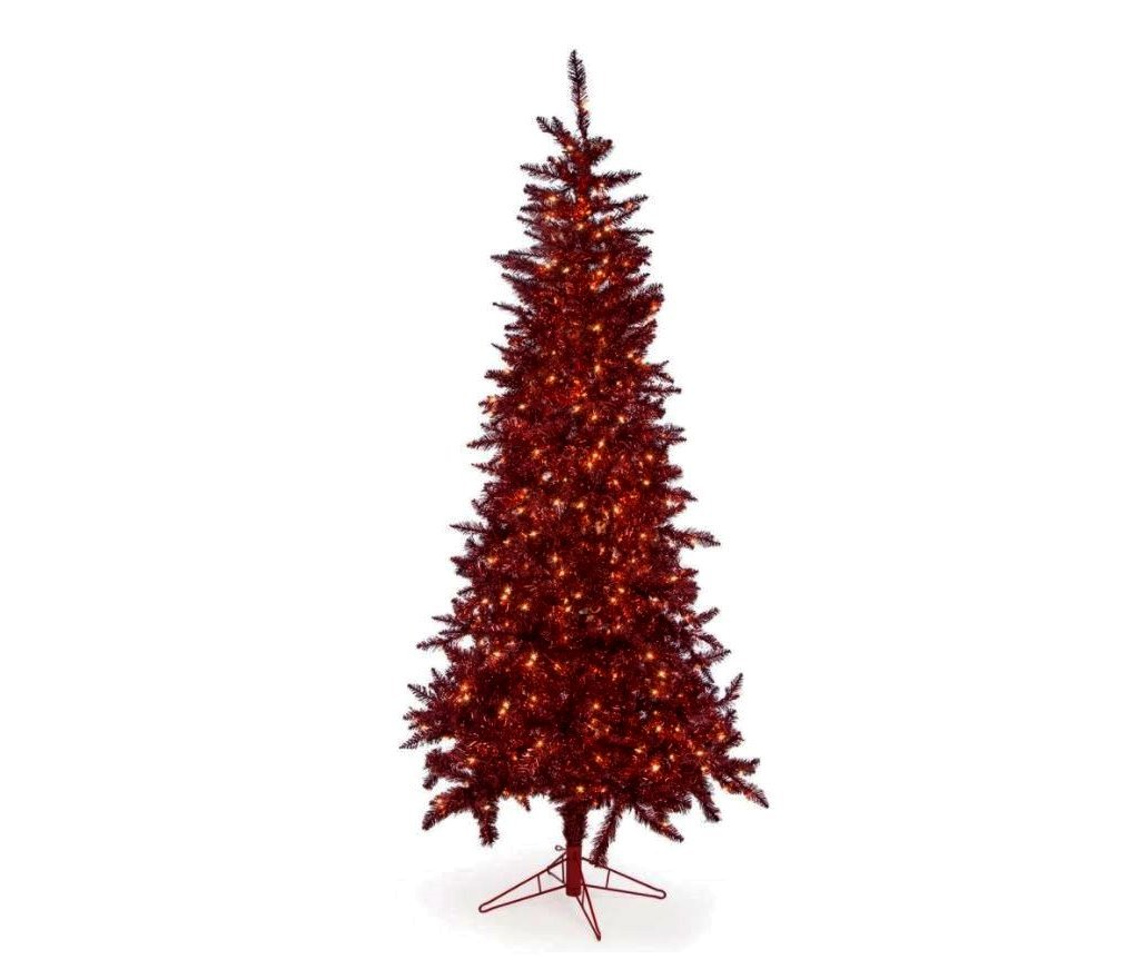 Artificial Christmas Tree. This Fake 7.5 Foot Xmas Burgundy Tree With Densely Foliage. Slim Pine Shape, Looks Brightly And Stylish. Great For Indoor, Holiday Season Party Decor & Centerpiece Design.