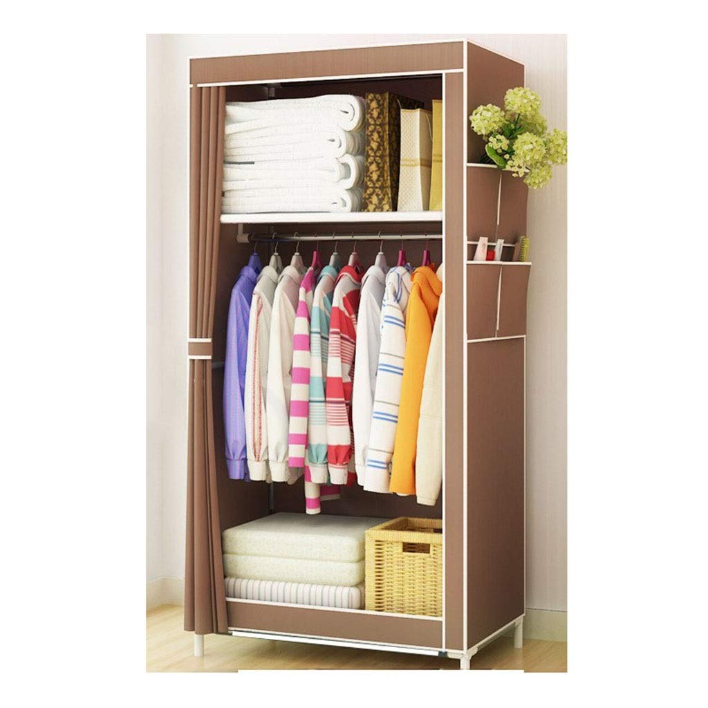 PPKQ Cloth Wardrobe Portable Wardrobe Closet Big Student Folding Hanging Wardrobe Steel Frame Portable Storage Clothes (Color : A) by PPKQ