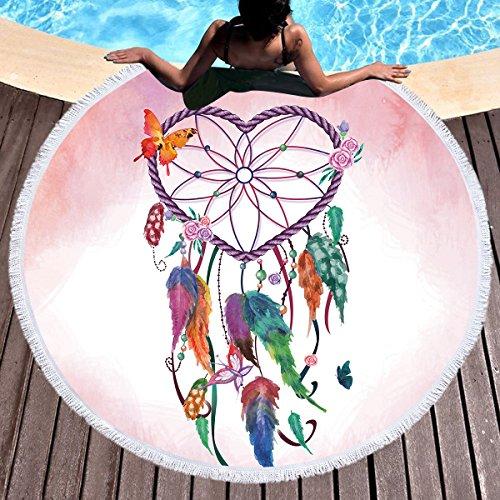 Sleepwish Heart Dreamcatcher Throw Blanket Circle Beach Towel Terry Teenage Girl Beach Towel Yoga Mat for Women (Feather Heart, 60