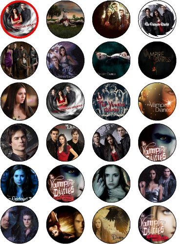THE VAMPIRE DIARIES 24 EDIBLE WAFER - RICE PAPER CAKE TOPPERS EACH DESIGN IS 40mm IN DIAMETER by OCCASIONS CAKE ART