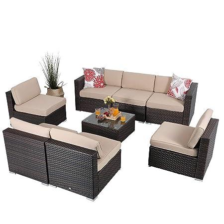 Amazon.com: PHI Villa muebles de exterior Patio Seccional ...