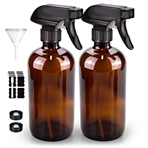 Glass Spray Bottle, Bontip Amber Glass Spray Bottle Set & Accessories for Non-toxic Window Cleaners Aromatherapy Facial hydration Watering Flowers Hair Care (2 Pack/16oz)