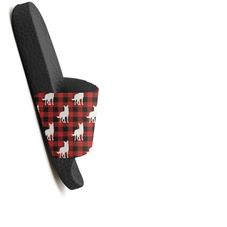 Man pug dog in santas hat Slipper for Mens Classic Slide Water Shoes