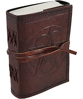 5dd83098e8d7 Embossed Leather Pentacle Journal with Leather Cord 3 1 2 in. X 5 in