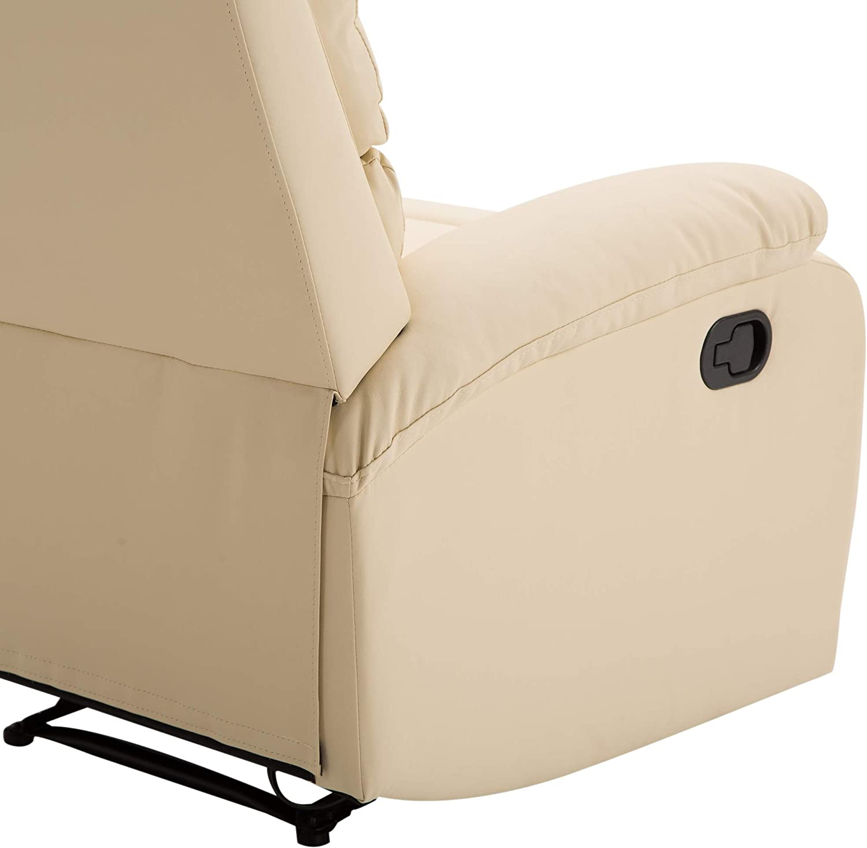 HOMCOM Poltrona Relax Reclinabile con Poggiapiedi Ecopelle 82 /× 97 /× 100cm Beige