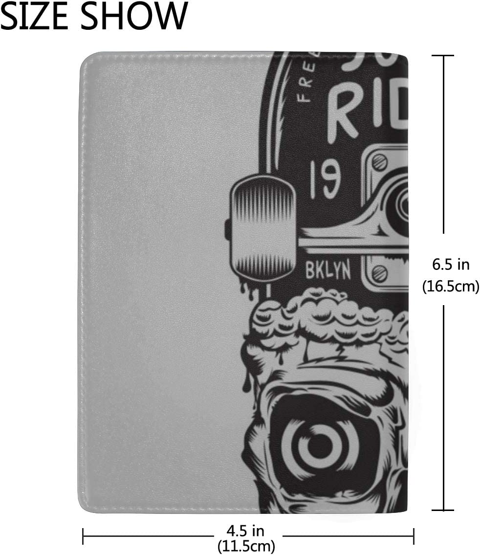 Skateboards And Skeleton-retro Blocking Print Passport Holder Cover Case Travel Luggage Passport Wallet Card Holder Made With Leather For Men Women Kids Family