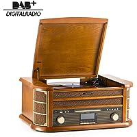 Système de Musique en Bois 8 en 1 SHUMAN, Platine Vinyle / CD-MP3 / Lecteur de Cassettes / Bluetooth / Port USB / Radio Dab / FM / Enregistrement - Marron (MC250DBT)