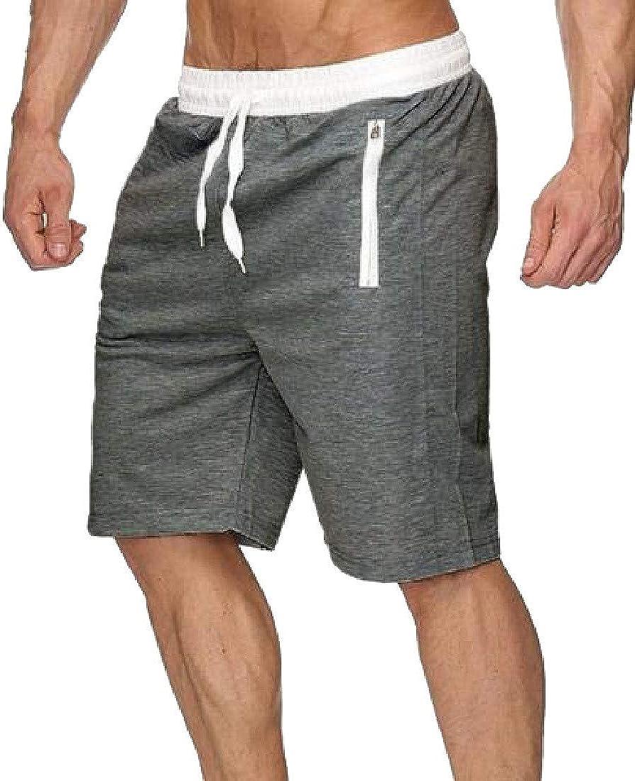Sweatwater Men Summer Drawstring Active Elastic-Waist Spell Color Shorts Pants