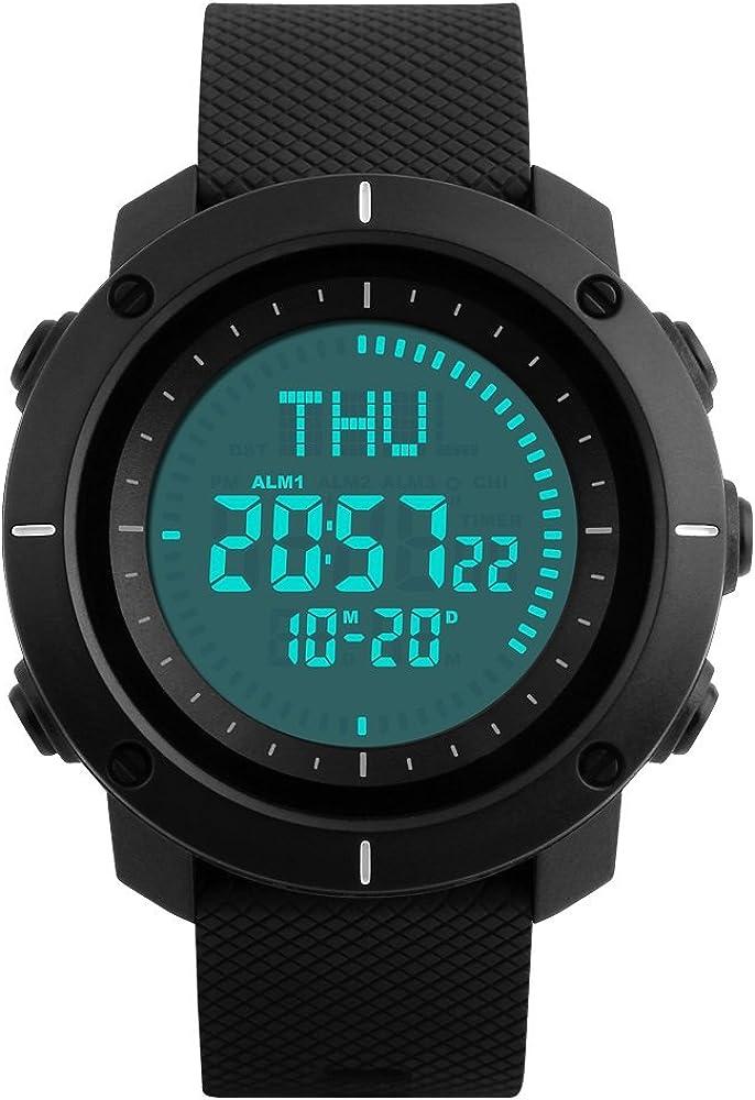 Farsler - Reloj deportivo multifunción para hombre, resistente al agua hasta 50 m, hora mundial, reloj digital, relojes deportivos al aire libre