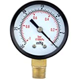 MagiDeal -30inhg / -1bar Manomètre de Pression Mini-cadran Indicateur de Pression de L'air sous Vide Manomètre 5cm Double échelle