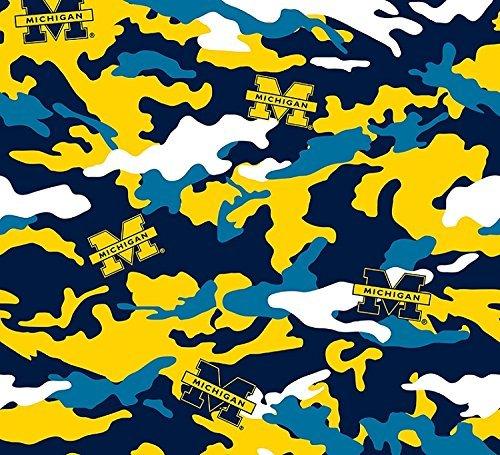 Cotton University of Michigan Wolverines Camouflage College Cotton Fabric Print - Michigan Wolverines Fabric