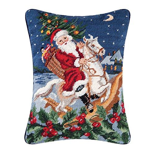 C&F Home Santa Riding Horse Needlepoint Pillow 12 x 16 Blue - Horse Needlepoint Pillow