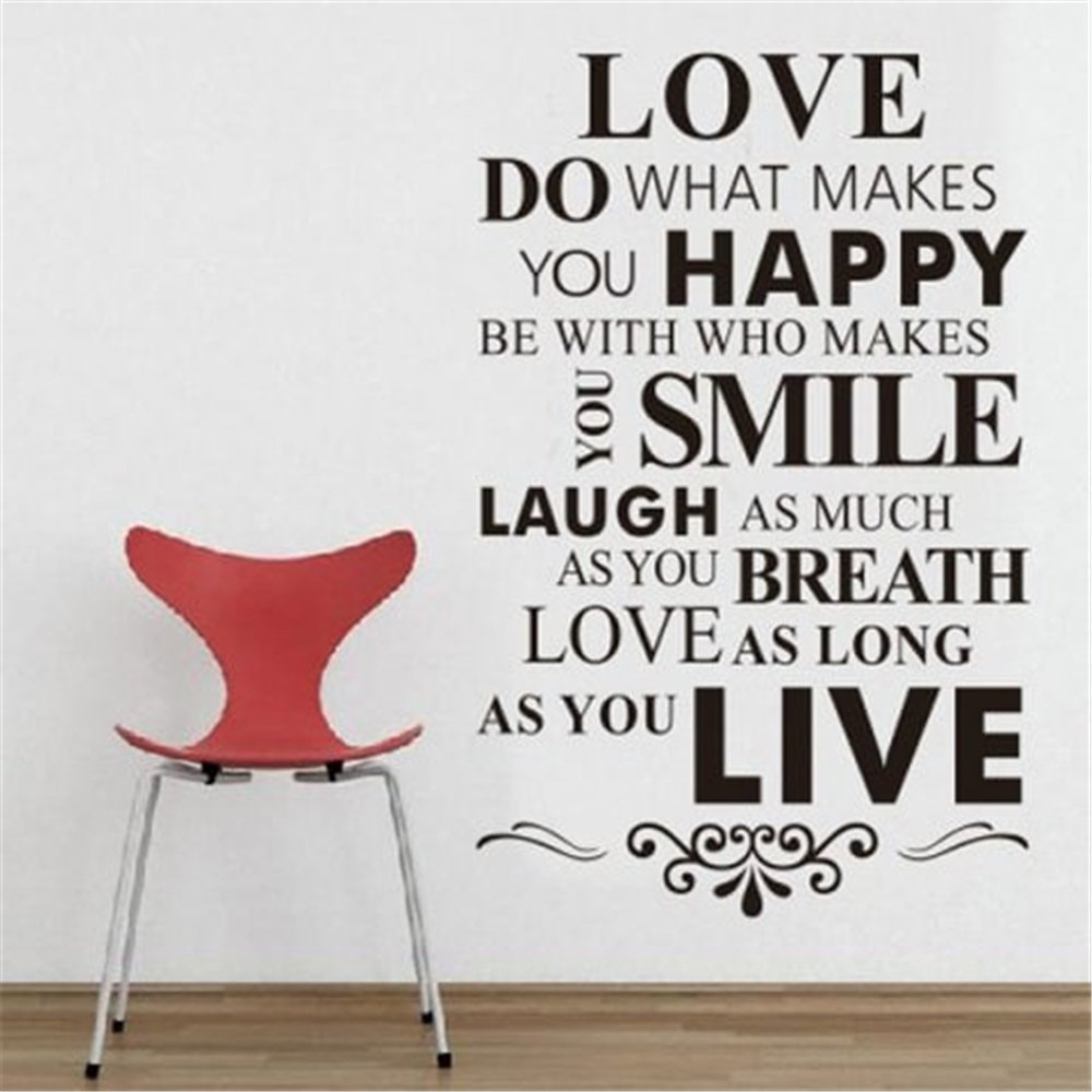 Marydecals lettering words wall mural diy removable sticker decoration love do what makes you happy be with who makes you smile laugh as much as you breathe