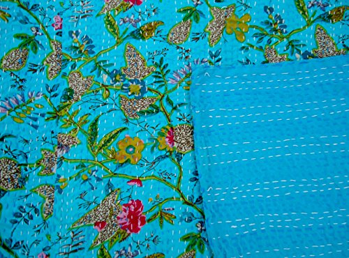 "Indian Floral Print Bedspread Bedding Bed Sheet Kantha Twin Size Bedding Set 60 X 90 """