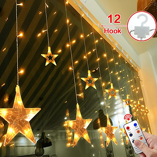 Star Curtain Lights,MaLivent 12 Stars 108pcs LED Waterproof Linkable Curtain String Lights 8 Modes with Remote Window Fariy Light Indoor Outdoor Decorative for Christmas Party Wedding Home(Warm white) (Indoor Christmas Lights)
