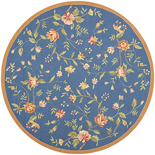 Safavieh Chelsea Collection HK263D Hand-Hooked Light Blue Premium Wool Round Area Rug (4' (Rose Round Hooked Rug)
