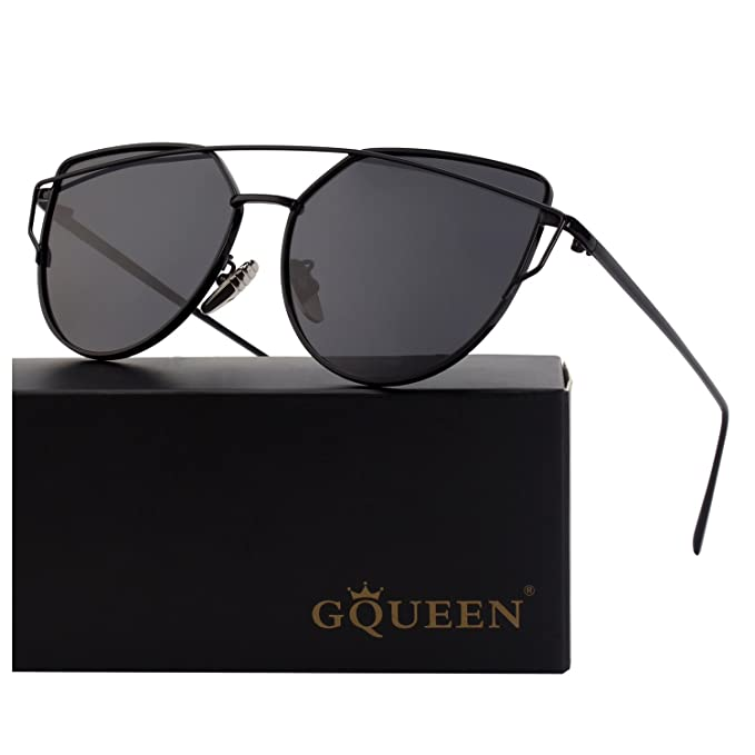 9c2a6e3290 GQUEEN Cat Eye Mirrored Flat Lens Street Fashion Metal Frame Polarized  Sunglasses for Women