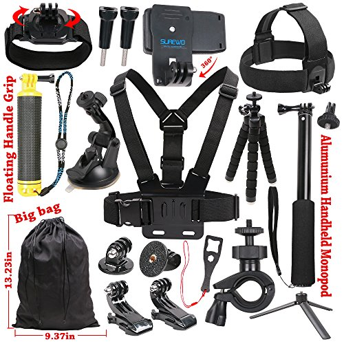SUREWO Basic Outdoor Accessories Kit for Gopro Hero 6/5/4 Black Hero 5/4 Session 4 Silver 3+ SJ4000/5000/6000 and Sony Sports Dv and More by SUREWO