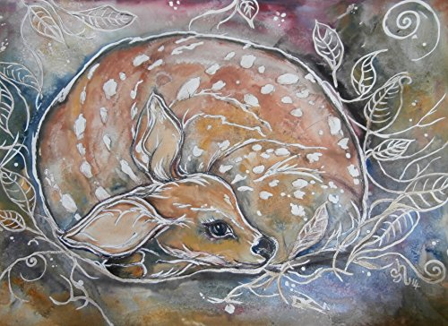 Fawn /Baby deer A3 signed Ltd ed art print - Limited Ed Hand Signed