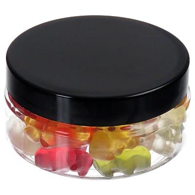 100ml Pet Tiegel transparente, plano, con Tapa de plástico, 50unidades), color negro