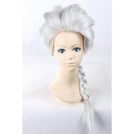 HOOLAZA Light Blonde Long Trenzado Pongtail peluca Frozen Queen Elsa para la fiesta de Halloween Cosplay