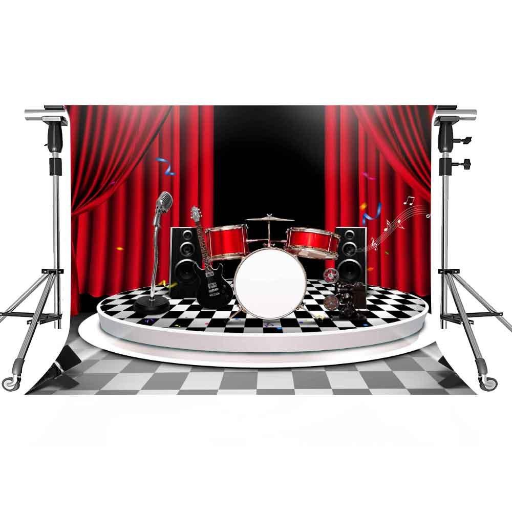 音楽ステージバックドロップオーディオドラム写真背景meetsioy 7 x 5ftテーマパーティー写真ブースYoutube Backdrop pmt363   B07FT6JC86