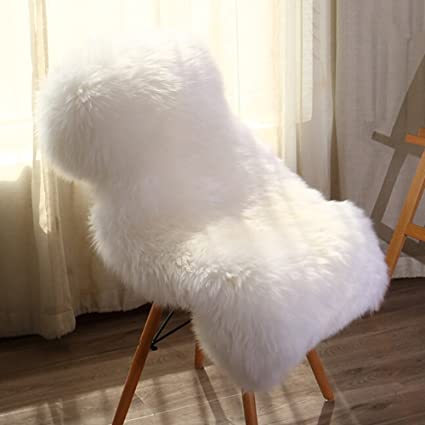 YOH Modern Fluffy Chair Mats Imitation Sheepskin Children Plush Carpets,  Shaggy Girls Room Area Rugs