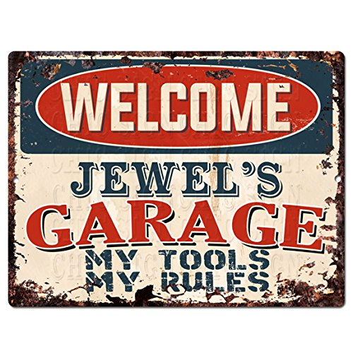 (Welcome Jewel'S Garage My Tools My Rules Tin Chic Sign Vintage Retro Rustic 9