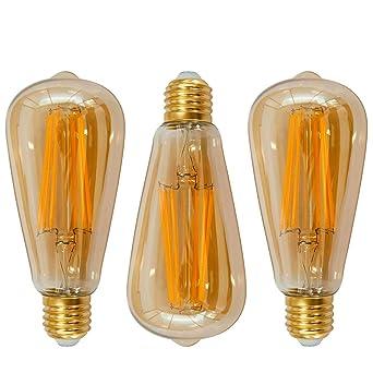 Lamparas Bombillas Edison de Filamento de LED E27 6W ST64 Vintage Retro Antigua Luz Calida 2400K