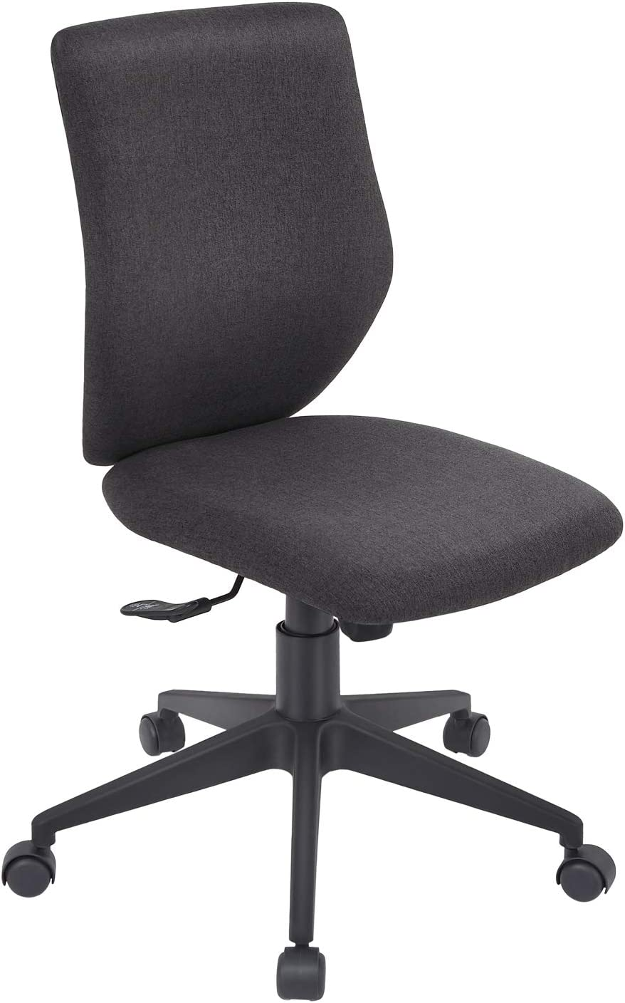 Bowthy Armless Office Chair Ergonomic Computer Task Desk Chair Without Arms Mid Back Fabric Swivel Chair (Black)