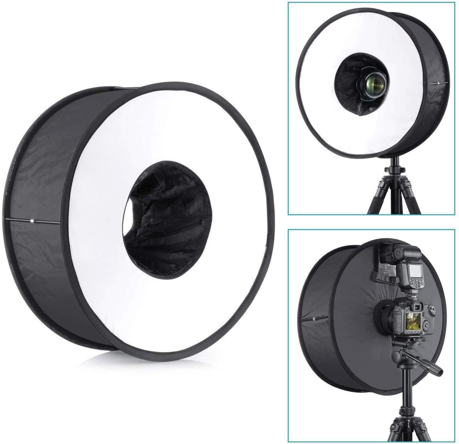 EXMAX R45 17.7 بوصة/45 سم جولة فلاش مغناطيسي قابل للطي ضوء خفيف ناعم حلقة فلاش موزع محمول خفيف خفيف الوزن مربع موزع جميل لتصوير ماكرو