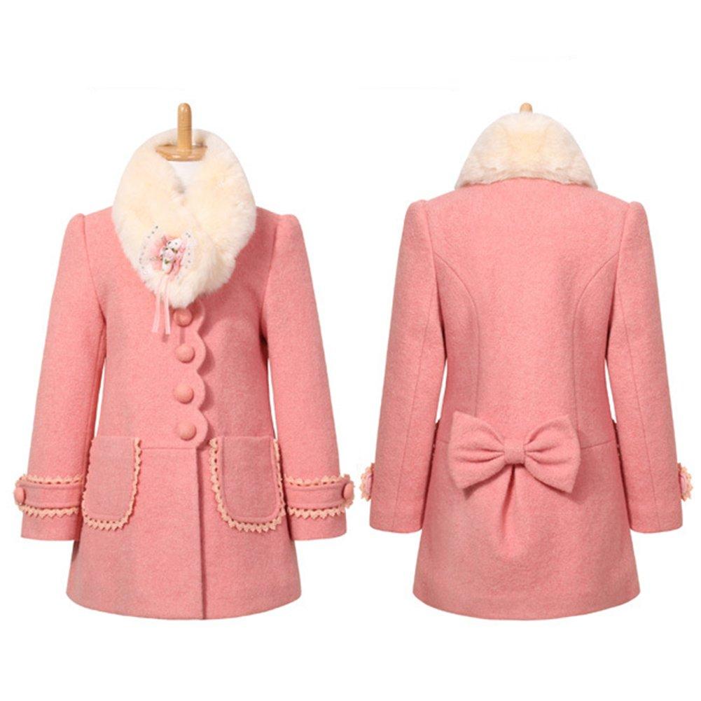 LSERVER Girl's Elegant Faux Fur Woolen Collar Fashion Warm Blended Winter Coat Lace Flower Princess Bowknot Jacket Pink by LSERVER (Image #4)