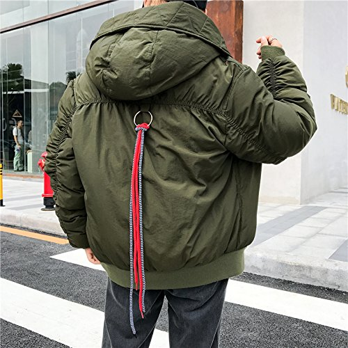Xuanku Loose Simple Cotton Coat Jacket Female Autumn And Winter Wild Retro Bread-And-Cap Cotton Cotton Clothing ArmyGreen