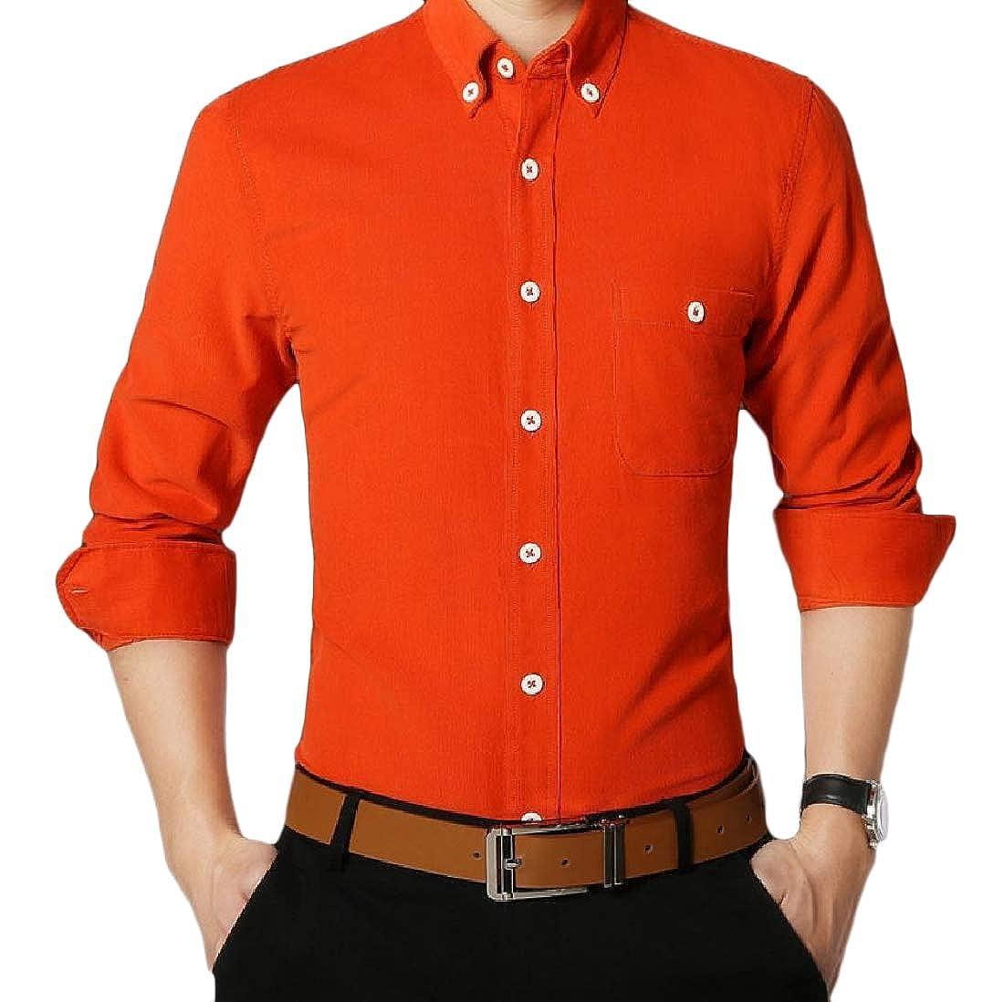 YUNY Mens Button-Down-Shirts Business Corduroy Slim Fitting Shirt Orange 2XL