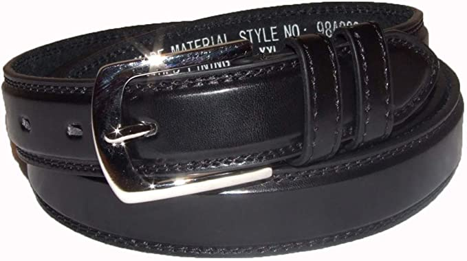"Plain Belts for Men Men/'s Black Leather Lined Belt with Silver Buckle 1/"" Wide"