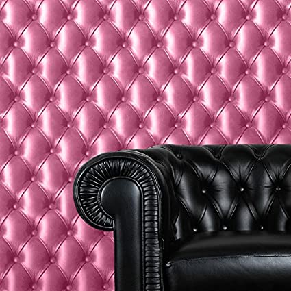 Cushioned Leather Effect Pink Padding Chesterfield Sofa Wallpaper 3d