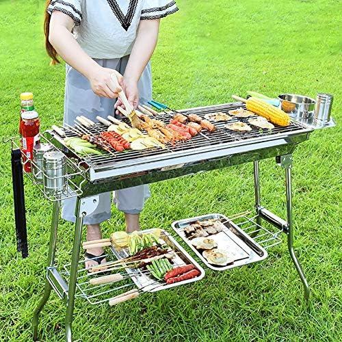 CHUIX Grille extérieure Charbon en Acier Inoxydable, Outil Barbecue, 8 Pièces de Barbecue Accessoires pour Outils, Amovible, pour 8-10 Personnes, Sliver