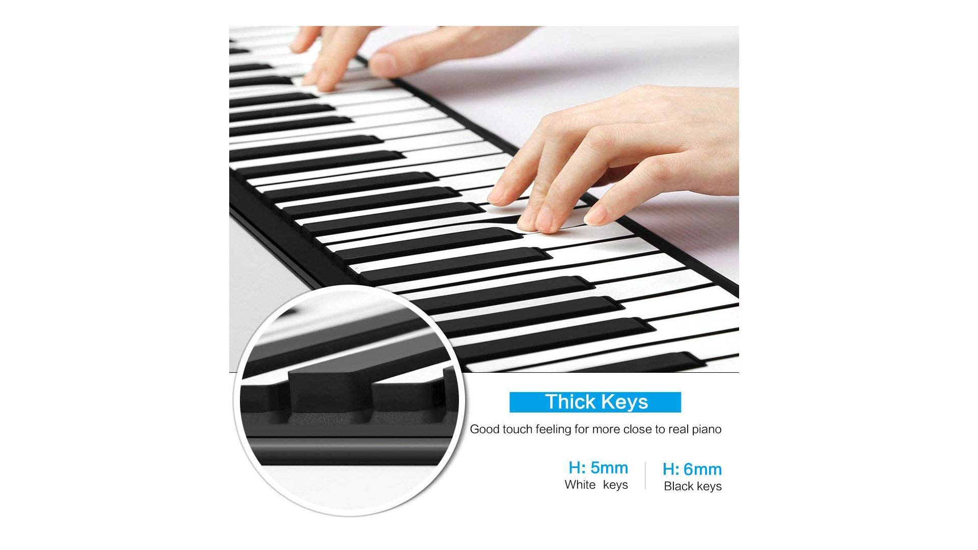 Eshenma Roll up Piano Portable Piano RO-A88 Key Flexible Soft Power Digital roll Keyboard Built-in Loud Dual Speaker can USB Charge AA Battery for Children Beginners (88-2S, White) 2019 Newest by Eshenma (Image #5)