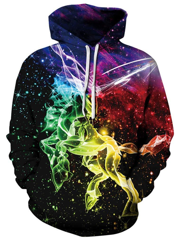 GLUDEAR Unisex 3D Galaxy Unicorn Print Pullover Novelty Hoodies Hoody Sweatshirt Outwear,Colored Galaxy Unicorn,5-6Y