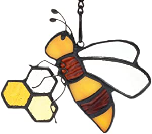 HAOSUM Stained Glass Suncatcher Bee On Honeycomb Garden Decor Gift for Mom,Friends 4.3