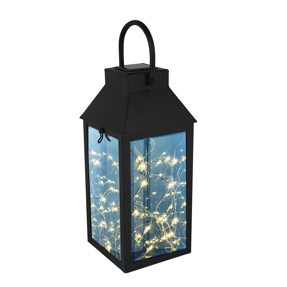 Solar Lantern, Tomshine Hanging Solar Lights Outdoor, IP44 Waterproof Landscape LED Lamp with Handle, DIY String Lights (Black) by Tomshine