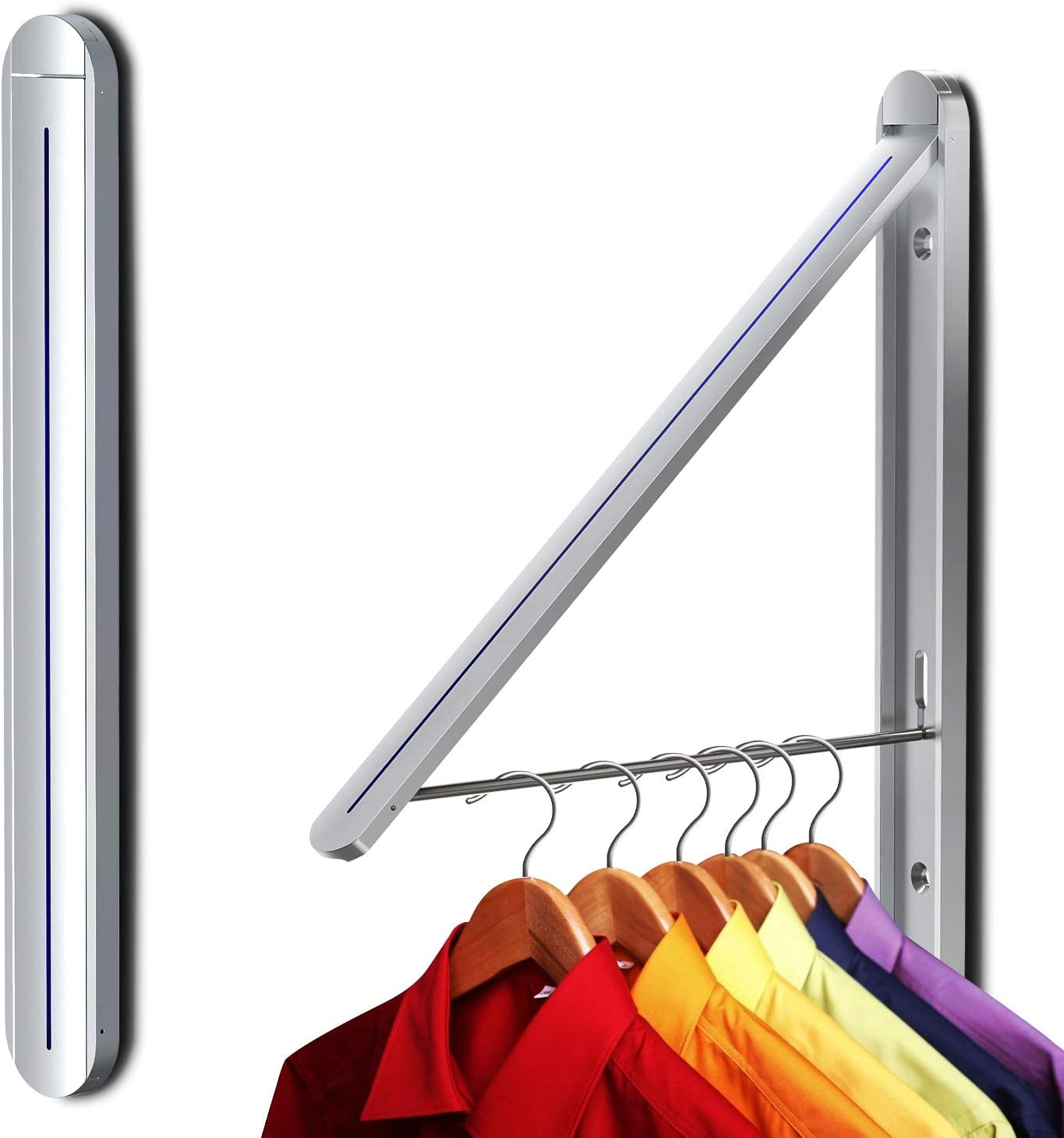 Ithywat Retractable Clothes Rack -Stealth Hangers , Wall Mounted Folding Clothes Hanger Drying Rack for Laundry Room Aluminum, Wall Decoration Hangers Silver